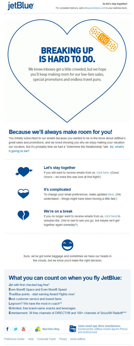 25 excellent examples of transactional html emails mailbakery jetblue send this email when they feel things are not working well between them and a client they know breaking up is hard to do but they dont want to kristyandbryce Images