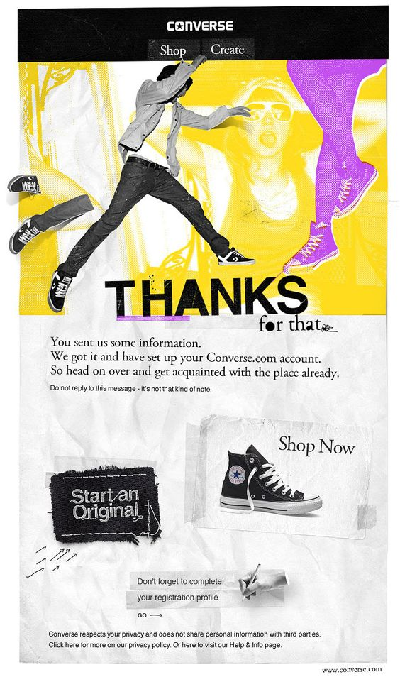 """f2e36a0b052c That is the """"Thank you"""" email you get when you set up an account with  Converse.com. The email design brings strong grunge flavour and offers two  main calls ..."""