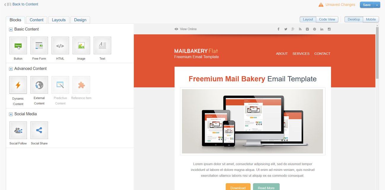 9 best html email template editors in email marketing platforms mailbakery. Black Bedroom Furniture Sets. Home Design Ideas