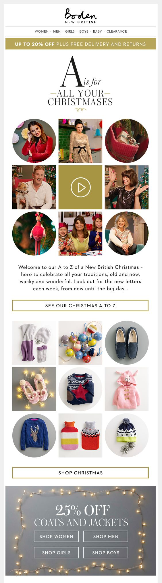 The famous british retailer boden emails you with a promise of a 20 christmas discount plus free delivery the offer is featured on top and displayed