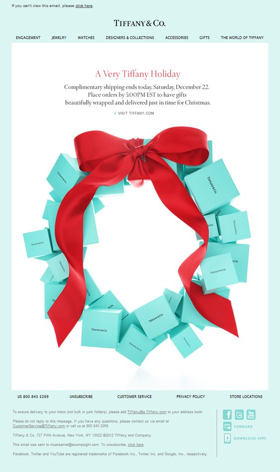 light and a little girly christmas email by tiffanyco coming with the wish for a very tiffany holiday the message here is about companys working days - Merry Christmas Email