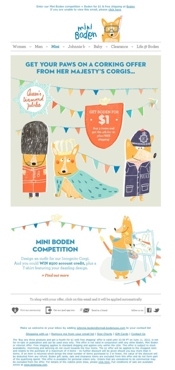 21 creative examples of illustrations used in email for Boden newsletter
