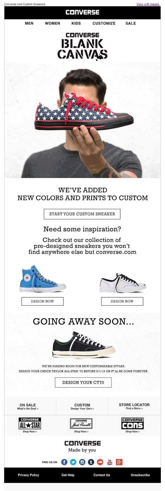 1dcf67f24dd6 Here is an email from Converse about there custom design program. They let  you know that they have added some new colors and prints to their gallery  that ...